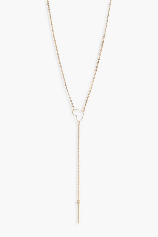 Womens Gold Heart Loop Plunge Skinny Necklace