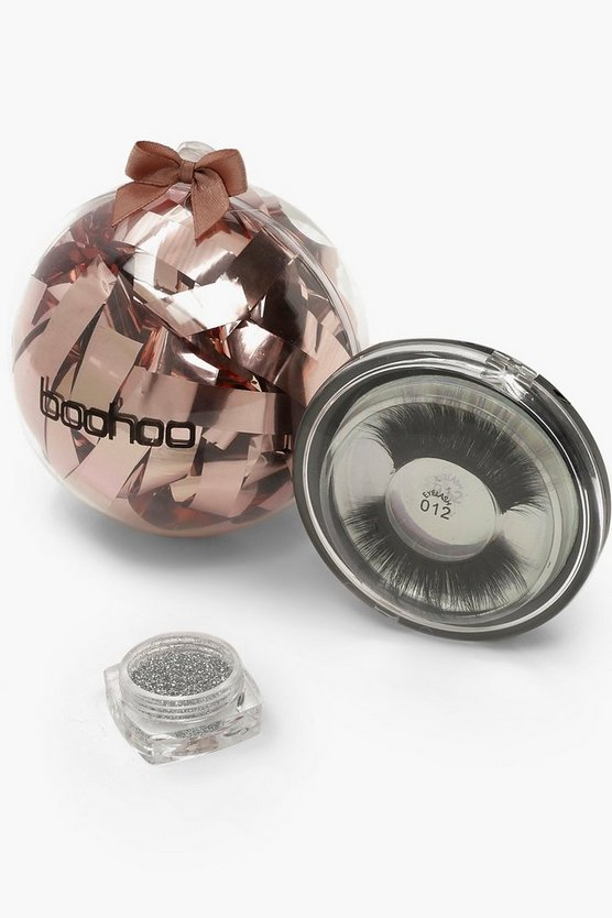 Womens Silver Boohoo Christmas Beauty Bauble - Lashes