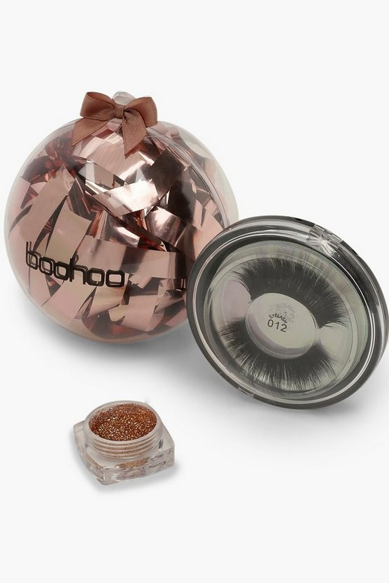 Womens Gold Boohoo Christmas Beauty Bauble - Lashes