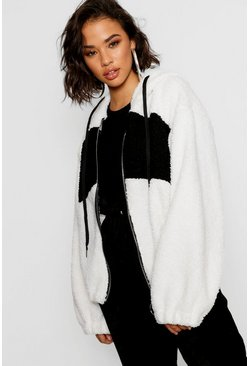 Womens Cream Teddy Faux Fur Oversized Hoody