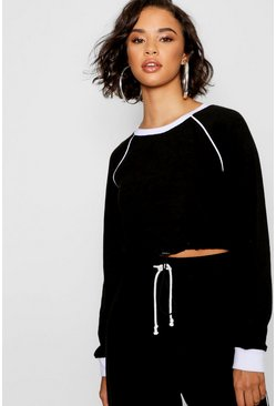 Womens Black Piping Detail Fleece Cropped Sweat