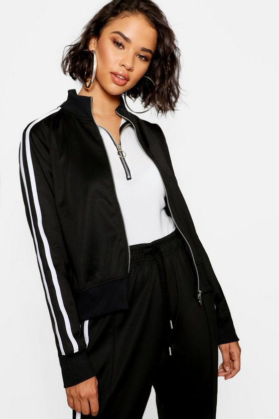 Womens Black Trico Oversized Zip Through