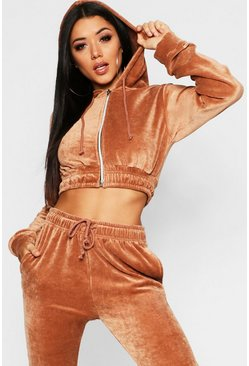 Womens Camel Cropped Velvet Zip Through Hoody