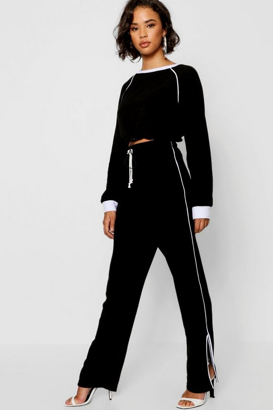 Black Piping Detail Fleece Jogger