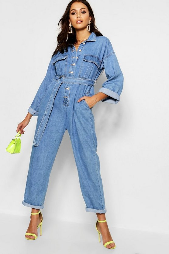 Utility Pocket Belt Denim Boilersuit