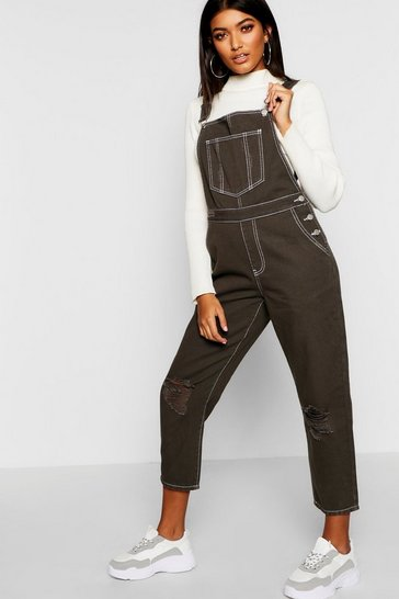 Womens Distressed Contrast Stitch Khaki Dungaree
