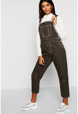 Womens Distressed Contrast Stitch Khaki Overall