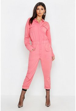 Womens Pink Utility Denim Boilersuit
