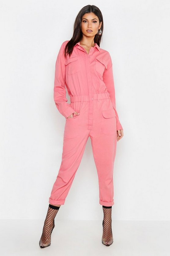 Womens Pink Pink Utility Denim Boilersuit