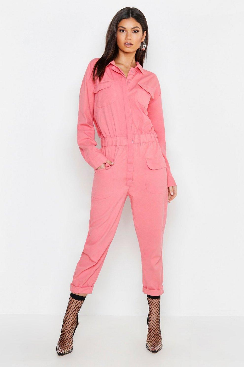 c9512156220 Pink Utility Denim Boilersuit