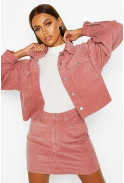 Womens Dusky pink Balloon Sleeve Crop Cord Jacket