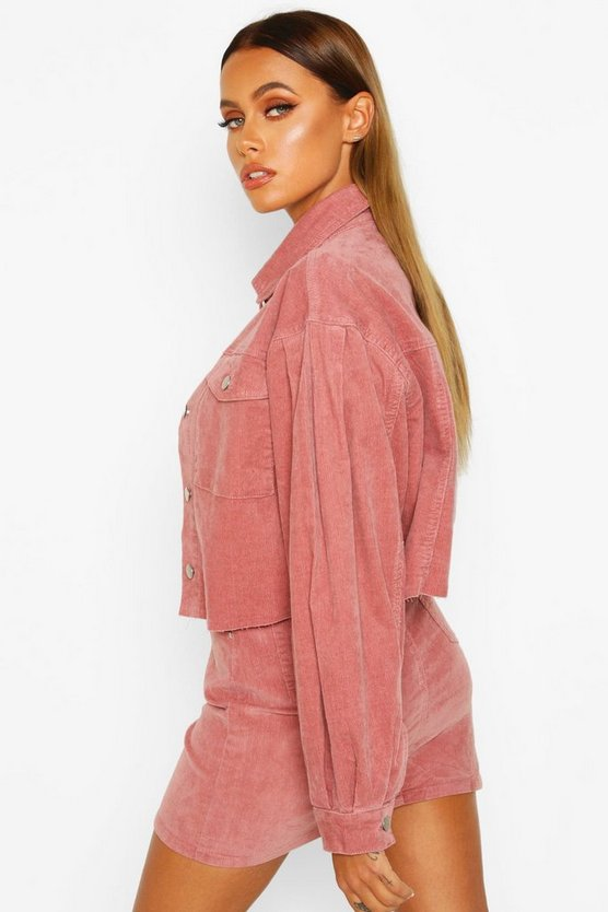 Balloon Sleeve Crop Cord Jacket