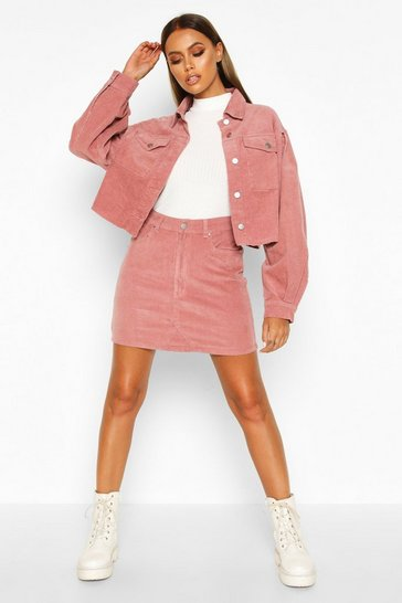Womens Dusky pink Cord Denim Mini Skirt