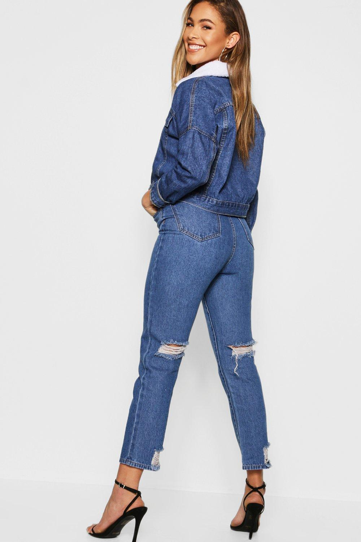 Distressed Back Straight Leg Jean
