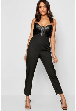 Womens Black Leather Look Bustier Jumpsuit