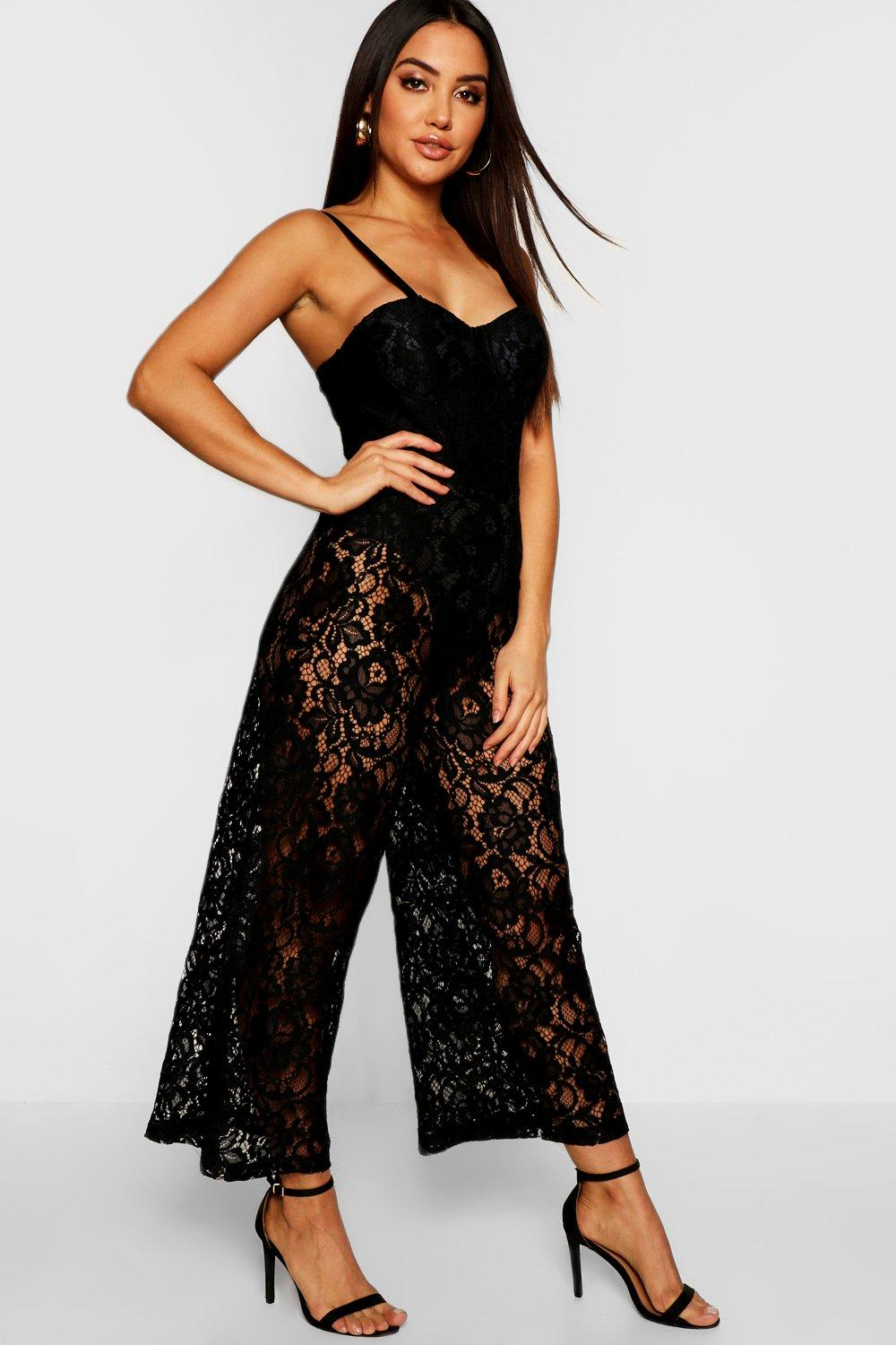 Corded Lace Cupped Sweetheart Jumpsuit