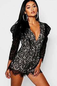 Corded Lace Mutton Sleeve Romper
