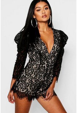 Womens Black Corded Lace Mutton Sleeve Playsuit
