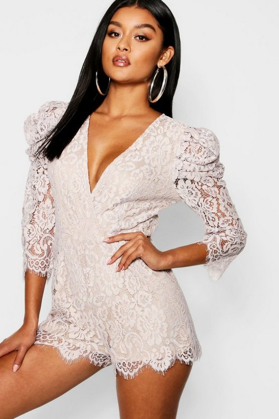 Corded Lace Mutton Sleeve Playsuit
