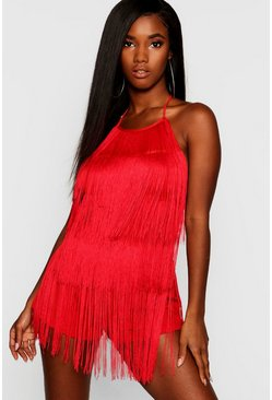 Red Tassel Fringe Playsuit