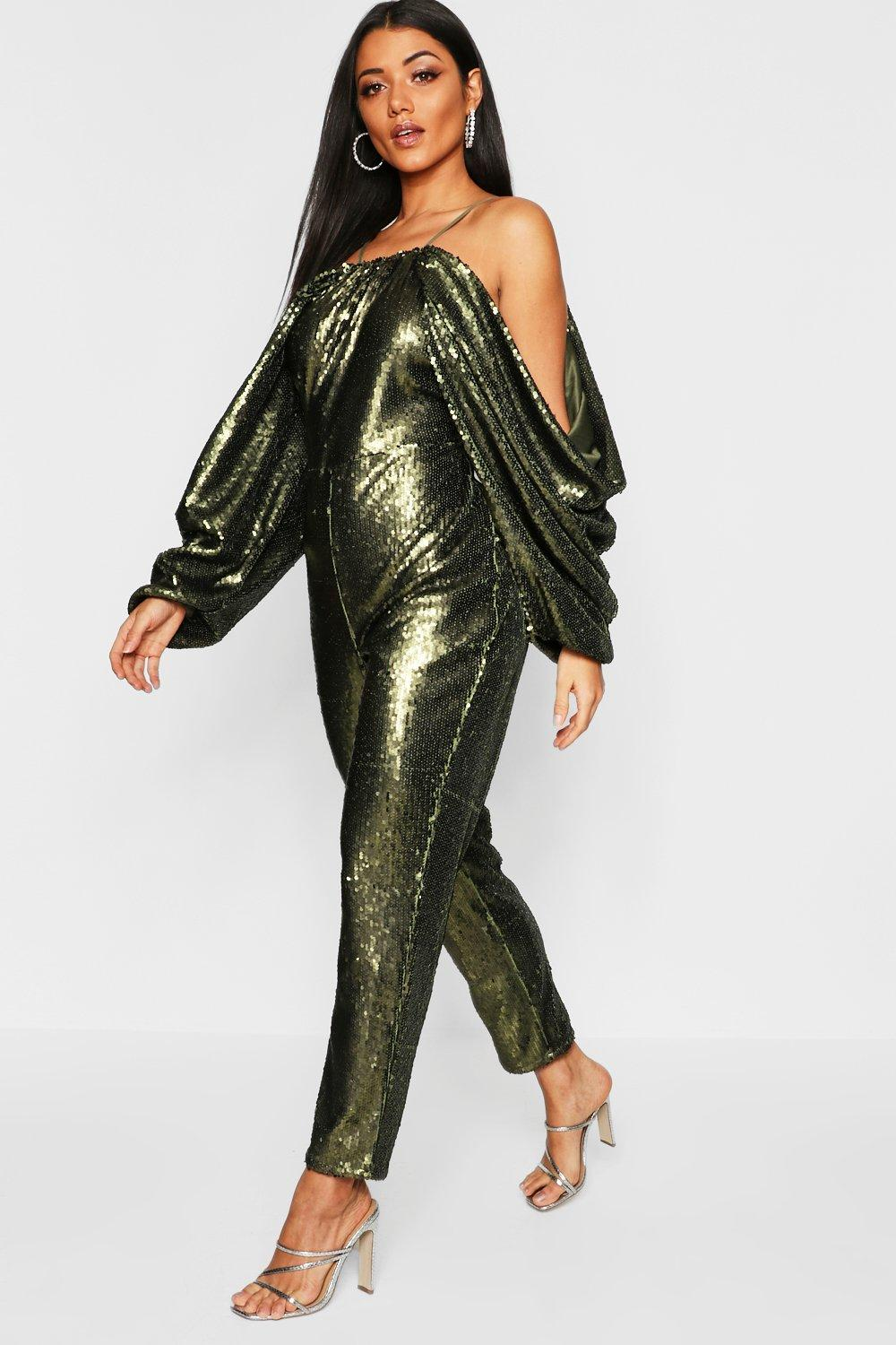 Cold Shoulder Batwing Sequin Jumpsuit