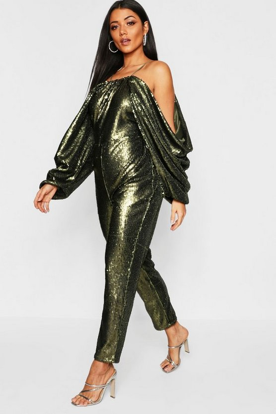 Womens Khaki Cold Shoulder Batwing Sequin Jumpsuit