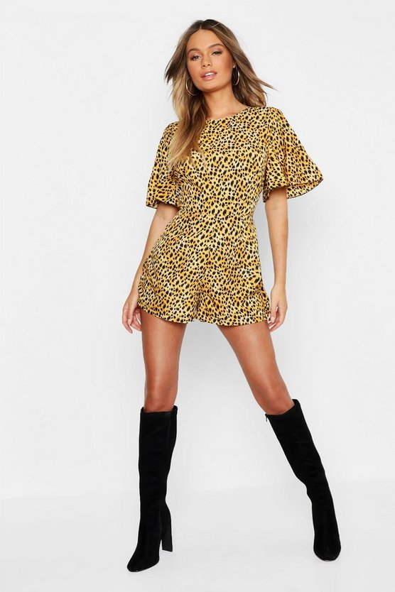 Womens Brown Leopard Print Playsuit