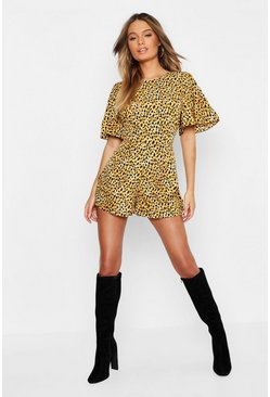 Womens Brown Leopard Print Romper