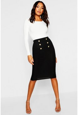 Womens Black Button Front Ribbed Midi Skirt