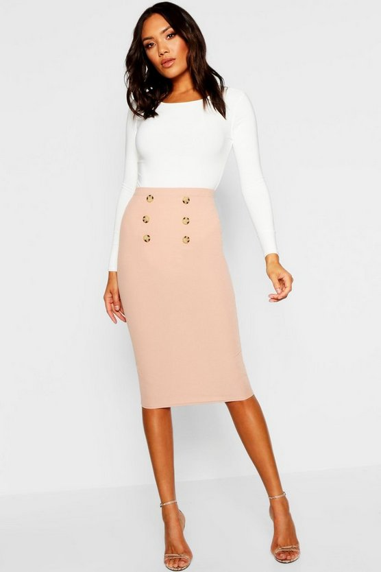Womens Sand Button Front Ribbed Midi Skirt