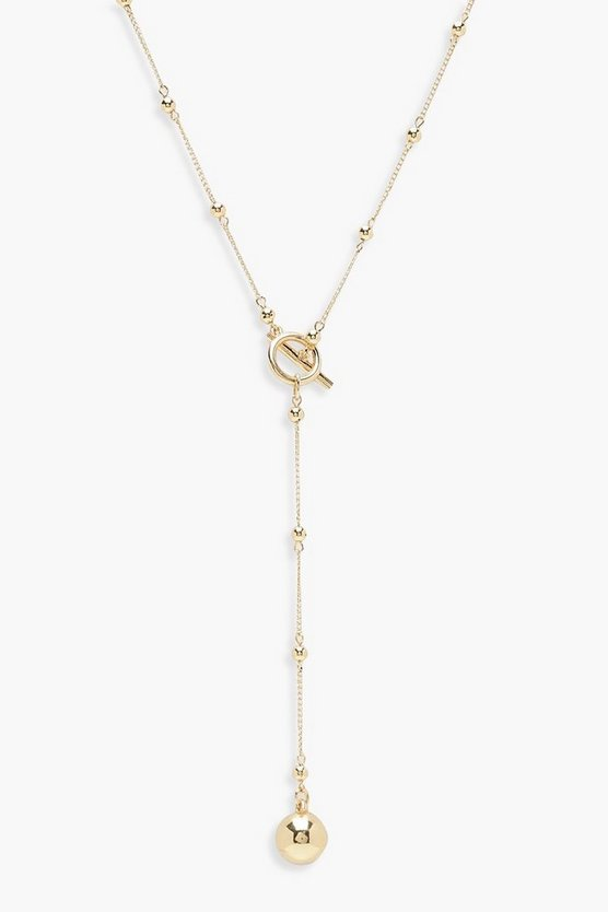Womens Gold Ball & Chain T-Bar Necklace