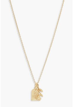 Womens Gold Square Sovereign & Rose Pendant Necklace