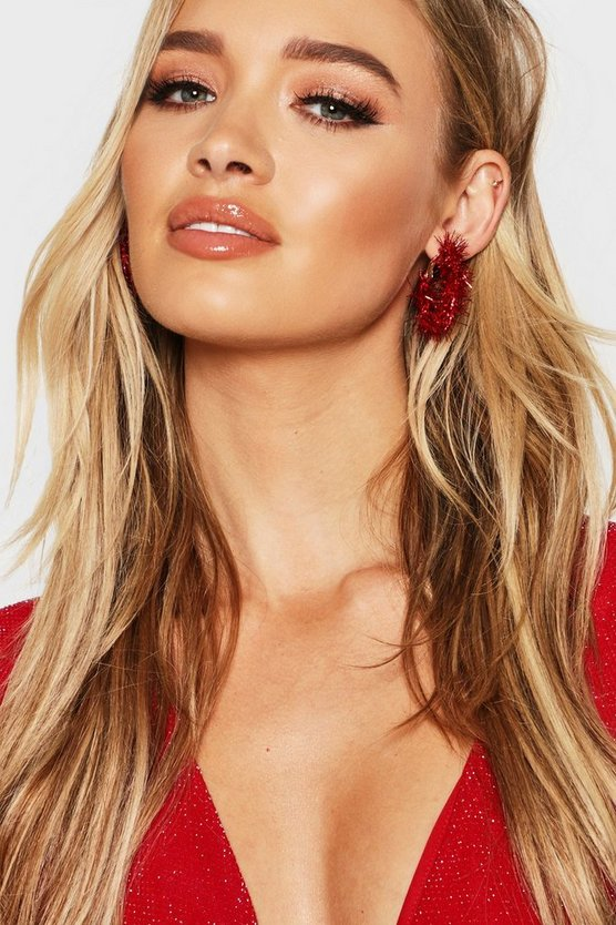 Womens Red Tinsel 3.5cm Hoop Earrings