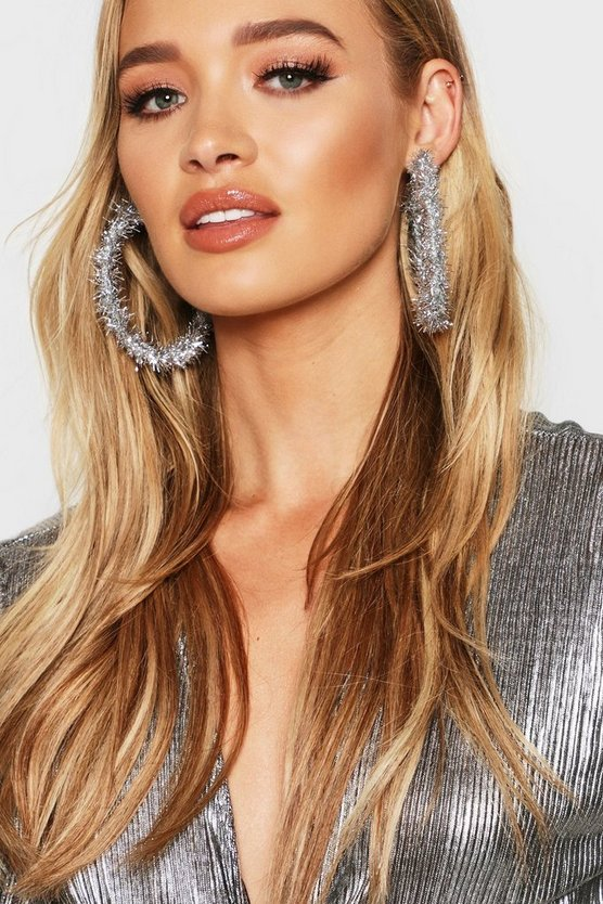 Silver Tinsel 8cm Hoop Earrings
