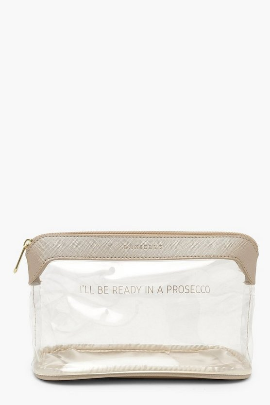 'Ready In Prosecco' Slogan Make Up Bag, Gold, Женские