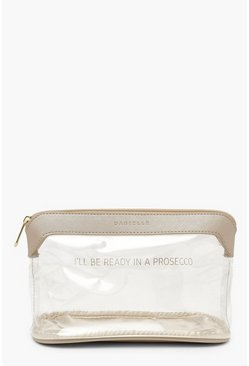 Womens Gold 'Ready In Prosecco' Slogan Make Up Bag