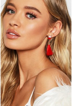 Womens Red Rudolph Tassel Earrings