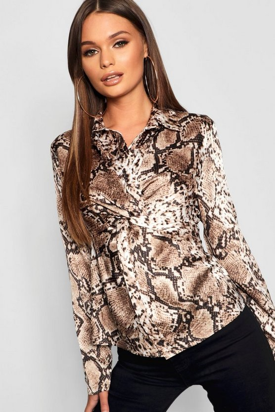 Womens Animal Knot Front Shirt