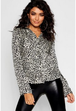 Womens Black Twist Front Leopard Shirt