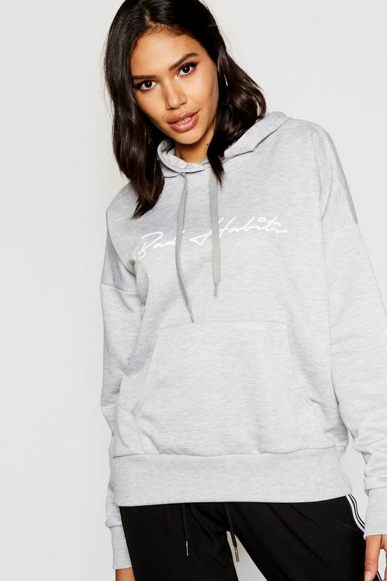 Bad Habits Slogan Hoody