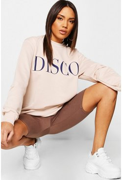Womens Ecru Oversized Disco Print Slogan Sweat
