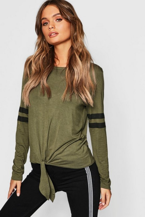 Tie Front Baseball Long Sleeve Top