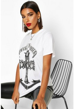 Womens White Guns N Roses Oversized Licensed T-Shirt
