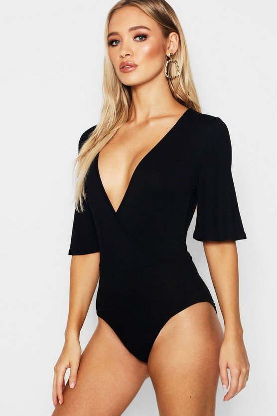 Womens Black Angel Sleeve Wrap Front Bodysuit