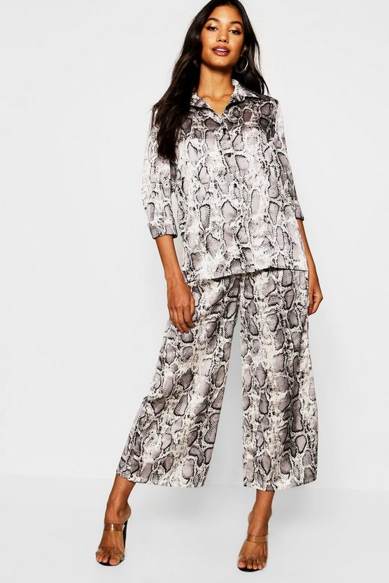 Snake Print Shirt + Pocket Detail Culotte Co-Ord