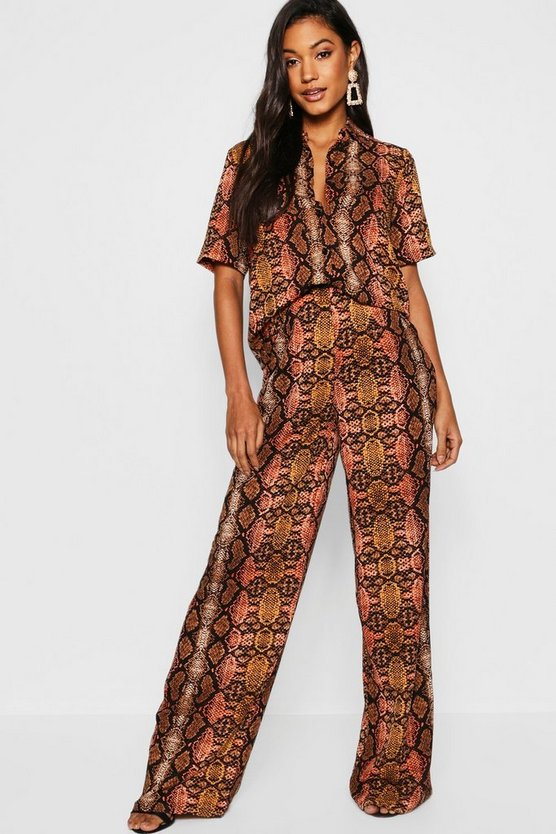 Snake Print Shirt + Wide Leg Trouser Co-Ord