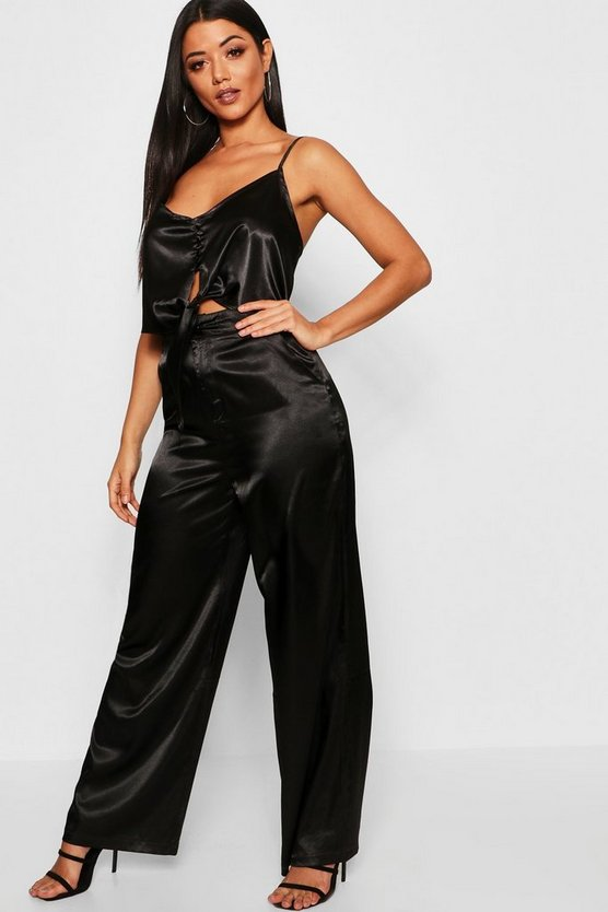 Black Tie Front Satin Top + Wide Leg Pants Co-Ord