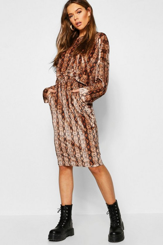 Snake Print Velour Oversized Sweat + Midi Skirt Co-Ord
