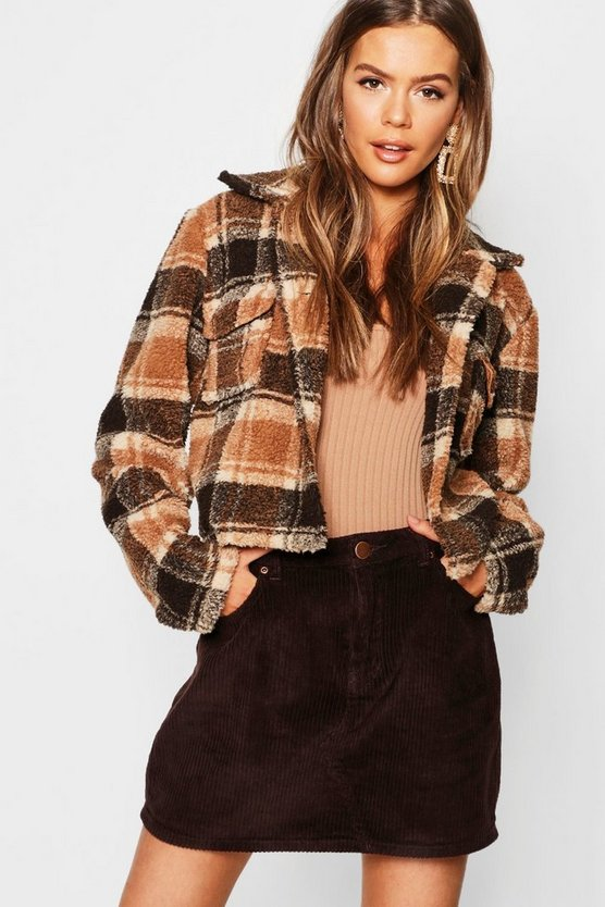 Womens Camel Check Teddy Faux Fur Trucker Jacket