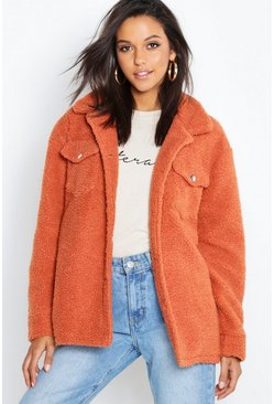 Womens Rust Teddy Faux Fur Trucker